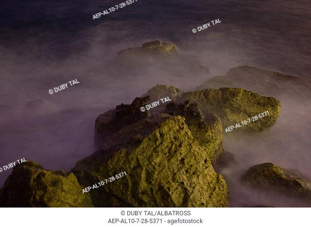 Abstract photograph of the Mediterranean sea at night
