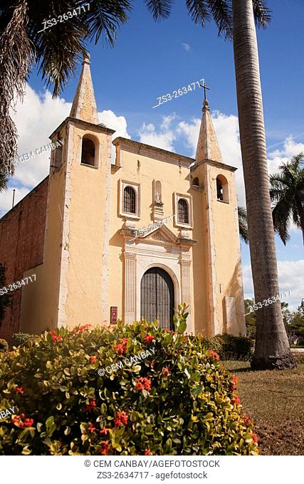 View to the Parroquia de Santa Ana Church with flowers in the foreground, Merida, Yucatan Province, Mexico, Central America