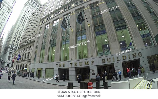 New York City, USA - 21 May 2015: The Trump Building entrance to 40 Wall Street in Lower Manhattan