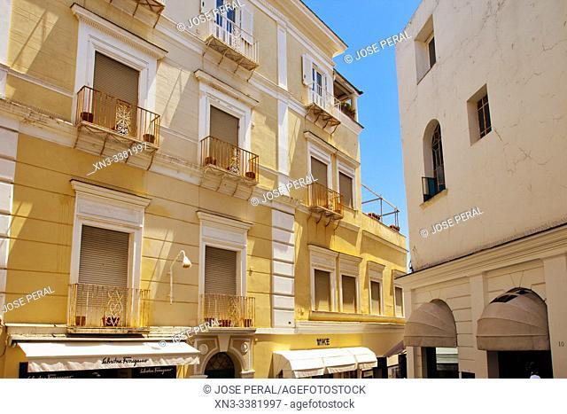 Shopping area, Capri town, Capri Island, Campania region, Tyrrhenian Sea, Italy, Europe