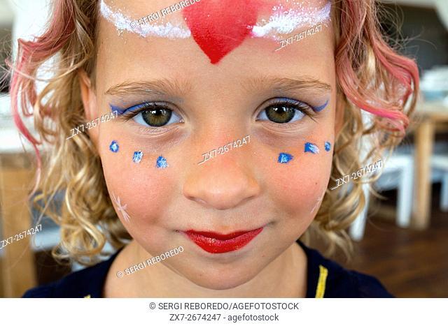 Gecko luxury boutique Hotel, Migjorn beach, Formentera Island, Balearic Islands, Spain, Europe. Portrait of a girl makeup in the kids club