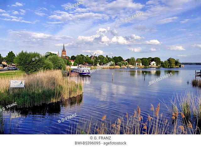 Werder (Havel), the Holy Spirit Church and Goat's windmill on the shore of the Havel, Germany, Brandenburg, Werder an der Havel, Potsdam