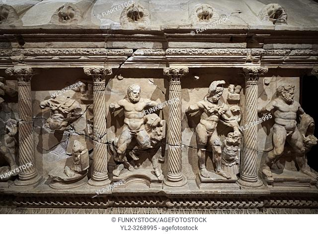 Roman Herakles (Hercules) relief sculptured sarcophagus, 2nd century AD, Perge, inv 928. it is from the group of tombs classified as