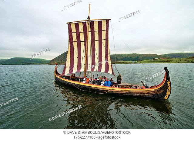 traditional Viking ship in the Lofoten Islands, Norway