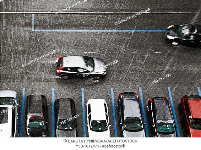 street scene in rain, Geneva, Switzerland, Europe
