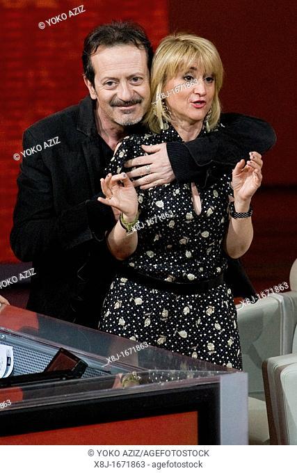 Milan 18 03 2012  Telecast 'Che tempo che fa' RAI3  Rocco Papaleo and Luciana Littizzetto