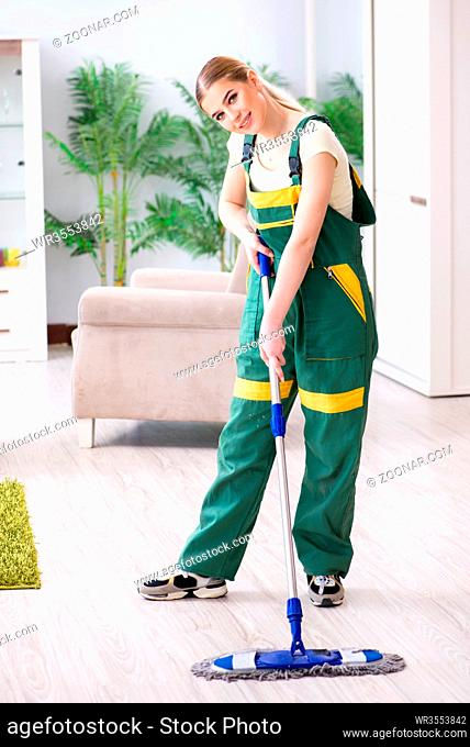 Woman female cleaner cleaning floor