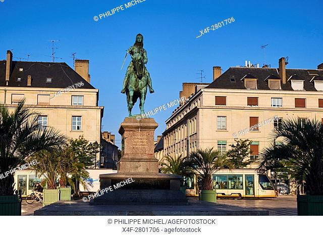 France, Loiret, Orleans, Martoi square and Jeanne d'Arc statue