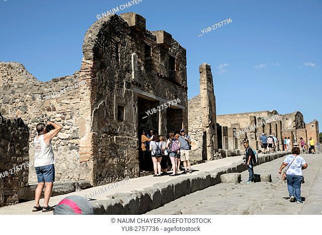 Pompeii ruin house, archaeological site, Campania region, Italy
