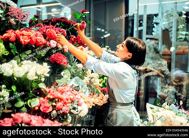 Female florist selects flowers for making a bouquet in floral shop. Floristry service, floristic business