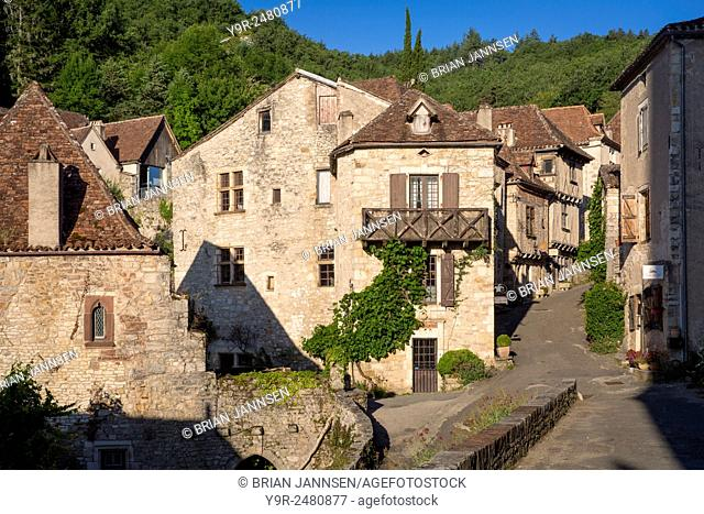 Early morning in Saint-Cirq-Lapopie, Quercy, Midi-Pyrenees, France