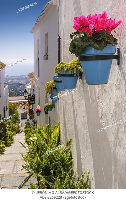 Typical street with flowers, white village of Mijas. Malaga province Costa del Sol. Andalusia, Southern Spain Europe