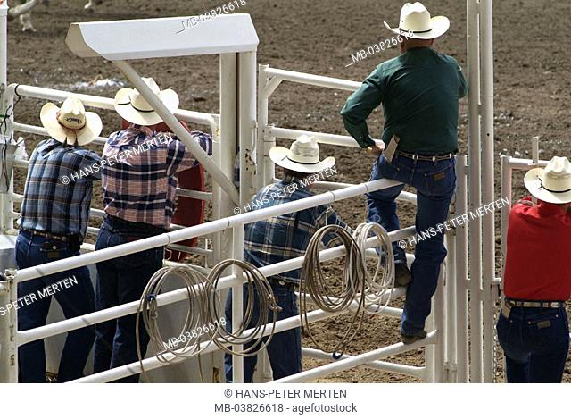 Canada, Alberta, Calgary, Stampede, rodeo, cowboys, view from behind