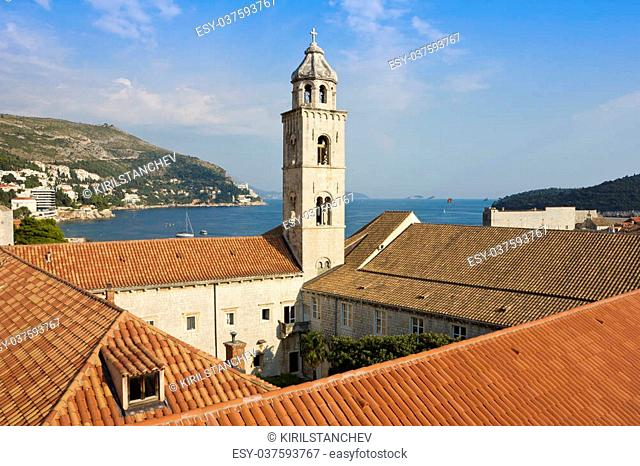 View toward The Dominican Monastery in Dubrovnik, Croatia in a bright sunny day, summer shot over a vivid blue sky
