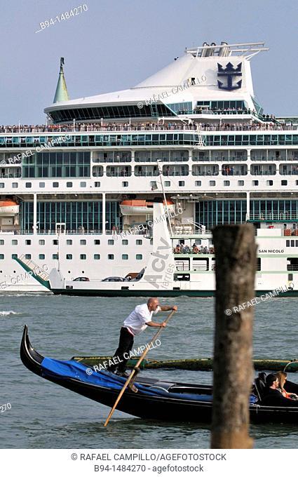 Gondola and cruise ship, Venice, Veneto, Italy