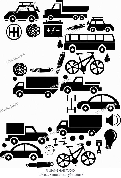 Abstract vector number 3 made from car icon - alphabet set