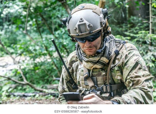 United states army ranger with the cellphone