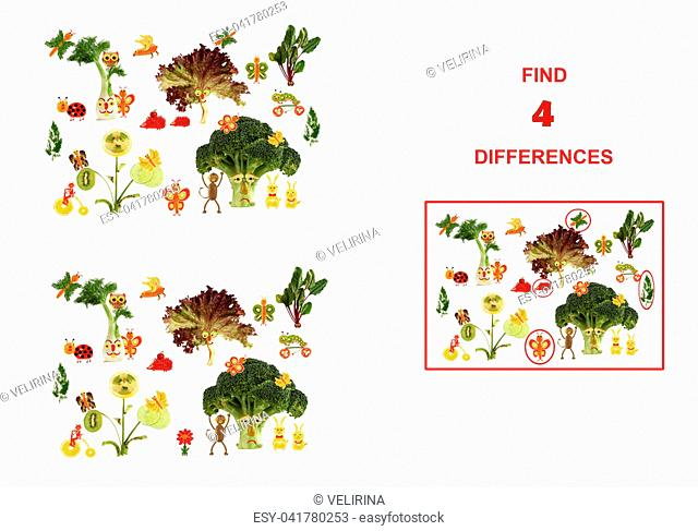 Cartoon figures of vegetables and fruits, illustration of Educational Counting Task for Preschool Children