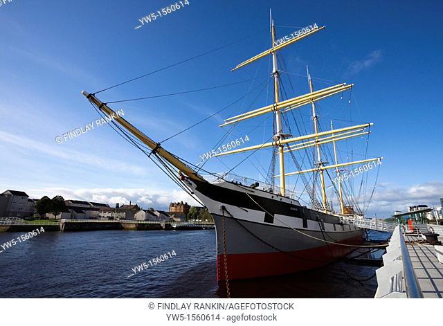 Glenlee tall ship, berthed at the Riverside Museum, Partick, Glasgow, Scotland, Uk, Great Britain and used as a museum exhibition Berthed on The River Clyde...
