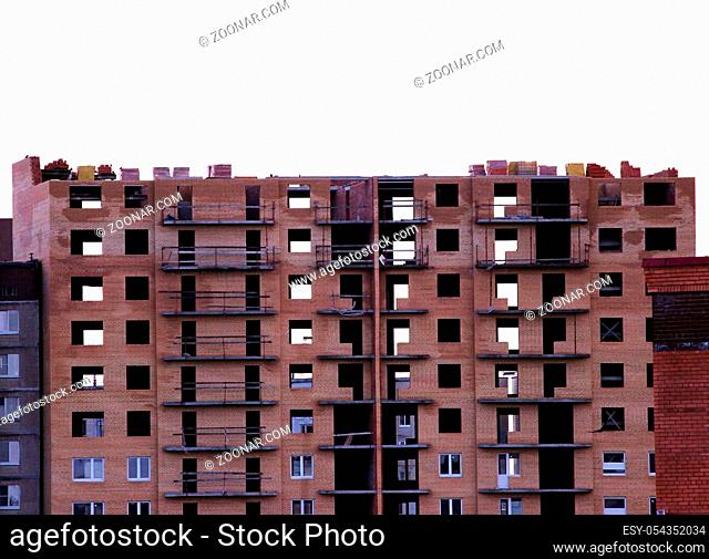 Isolated abandoned unfinished due to poor foundation brick nine storey building