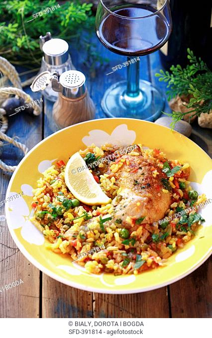 Paella with chicken leg