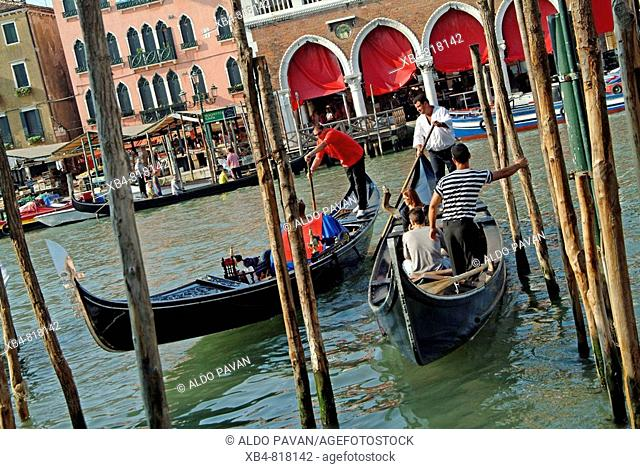 Gondola boats on Grand Canal, Venice. Veneto, Italy