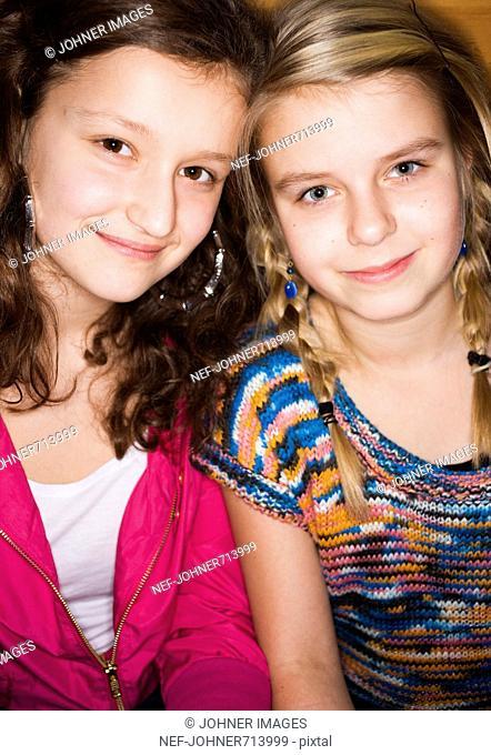 Two smiling teenage girls, Sweden