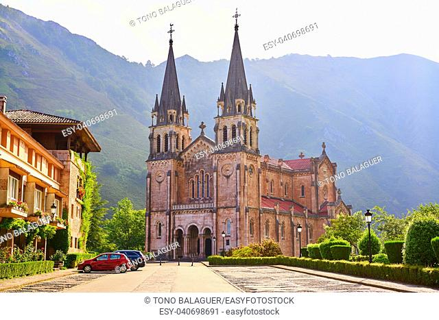 Covadonga Catholic sanctuary Basilica church in Asturias at Cangas de Onis