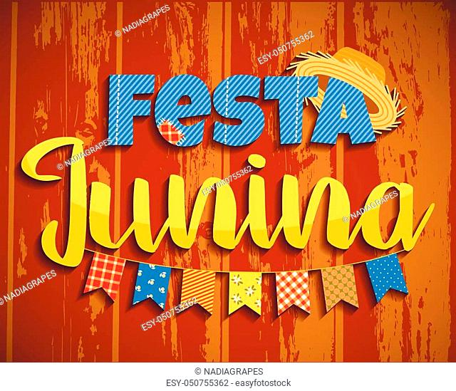 Latin American holiday, the June party of Brazil. Lettering design on wood texture. Vector illustration
