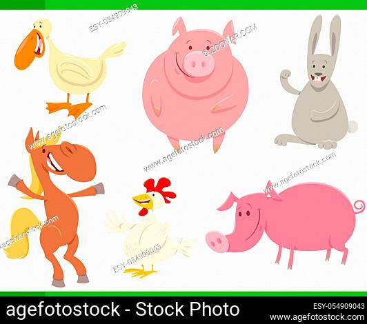 Cartoon Illustration of Funny Farm Animal Characters Set