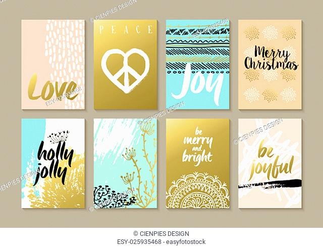 Merry Christmas retro hipster boho card template set with vintage hippie style elements and trendy holiday text quotes in gold metallic color