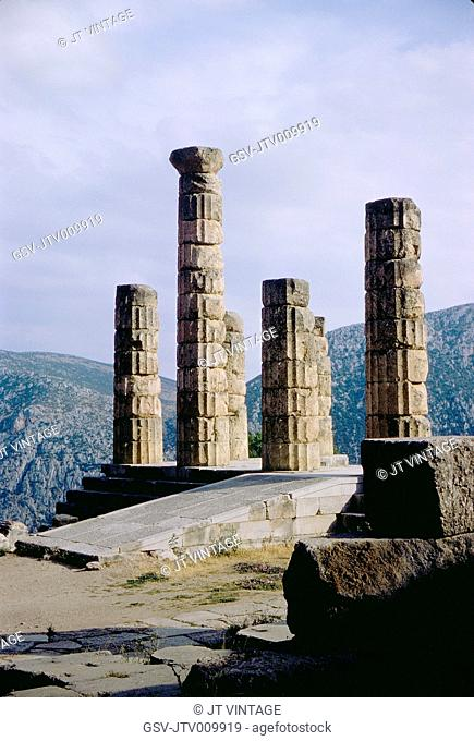 Ruins of the ancient Temple of Apollo, overlooking the valley of Phocis, Delphi, Greece, 1963