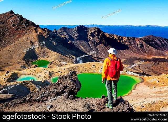 Unusual volcanic landscapes on Tongariro Crossing track, Tongariro National Park, New Zealand. Wanderlust concept