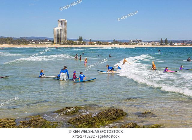 Currumbin, Gold Coast, Queensland, Australia. Currumbin beach. Surfers Paradise in background