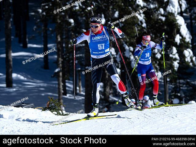 16 February 2021, Slovenia, Pokljuka: Biathlon: World Cup/ World Championships, Individual 15 km, Women. Sari Maeda from Japan in action