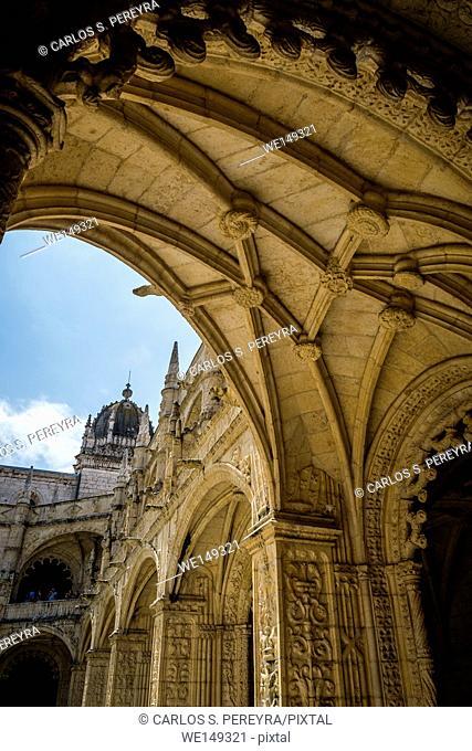 Interior of Hieronymites Monastery (Mosteiro dos Jeronimos), Lisbon, Portugal. Manueline style (Portuguese Gothic)