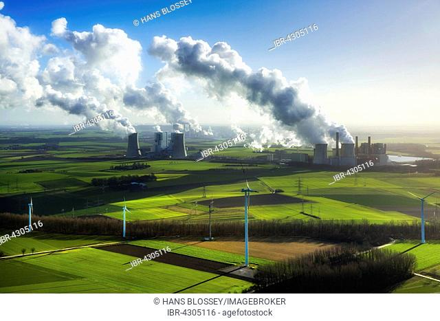 Neurath lignite power plant and Niederaußem power plant, RWE Power, vapor cloud, plume, emission, in front wind turbines, fossil and alternative energy
