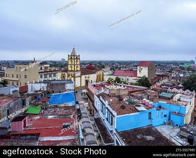View over Pedestrian Calle Maceo towards Nuestra Senora de la Soledad Church at dawn, Camaguey, Camaguey Province, Cuba
