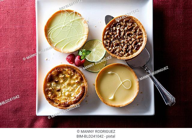 Miniature tarts on tray