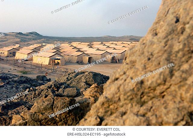 A sea of tents in Uzbekistan on Sept 26 2001 was set up by U.S. Air Force to house over a thousand soldiers soon to invade Afghanistan in response to the 9/11...