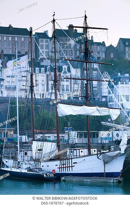 France, Normandy Region, Manche Department, Granville, port view with La Marite sailing ship, dawn