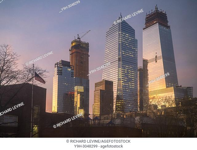 10 Hudson Yards, center, 30 Hudson Yards, right, and other Hudson Yards development in New York on Tuesday, February 13, 2018