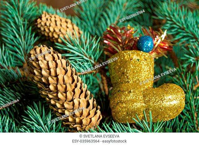 Christmas background, boots, gifts cones on the Christmas tree branches