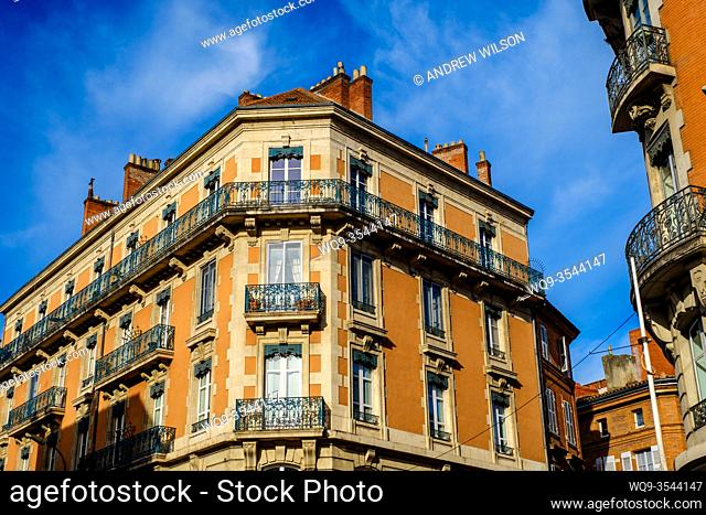 Traditional French architecture in Toulouse, France