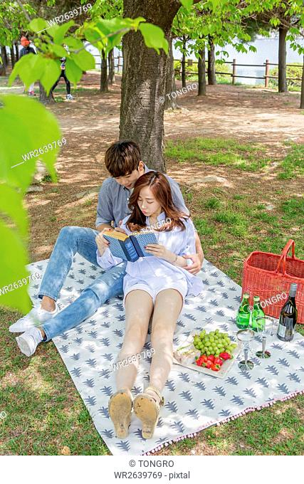 Young smiling couple sharing a book during picnic at park in spring