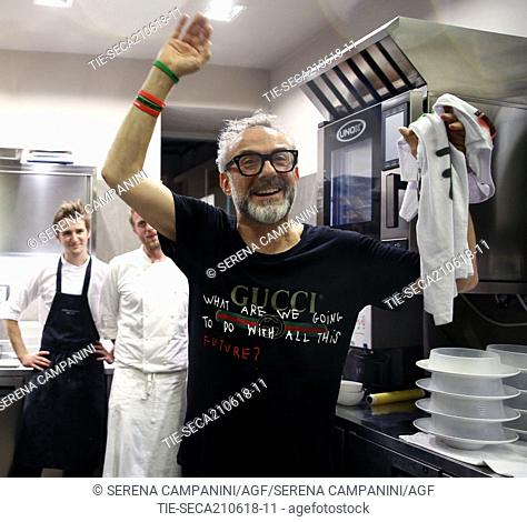 Chef Massimo Bottura coming back from Bilbao where at the World's 50 Best Restaurants 2018 the restaurant Osteria Francescana was elected for the second time...