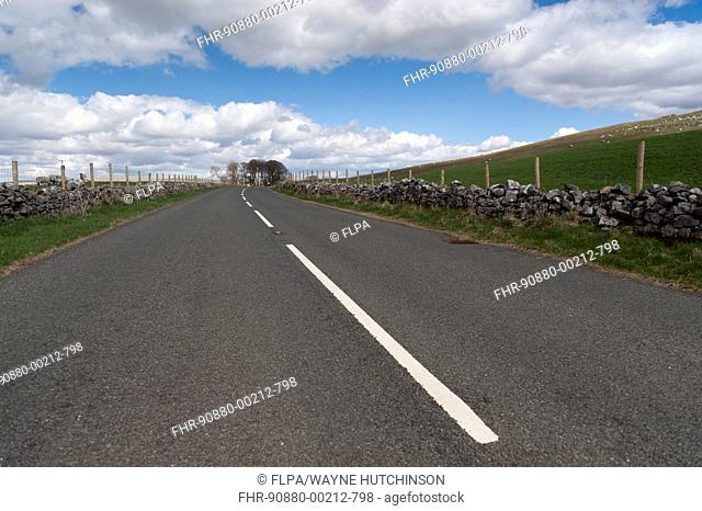 Road through countryside, A683 between Sedbergh and Kirkby Stephen, Cumbria, England, April