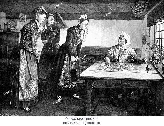 Altenoldenburg fortune teller, historical illustration, wood engraving, about 1888