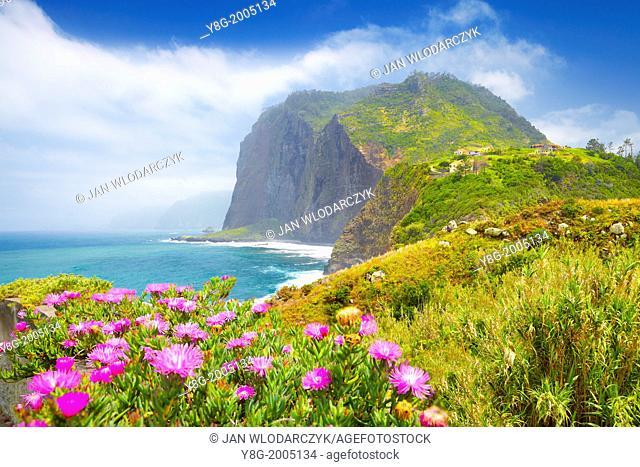 Cliff coastline near Ponta Delgada, Madeira, Portugal