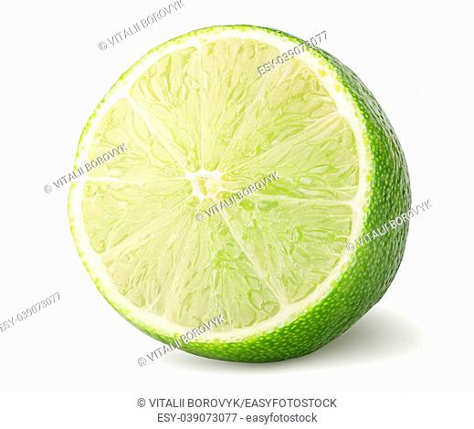 Half of lime rotated isolated on white background